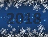 Nouvel 2018 ans heureux Salutations de saisons Guirlandes de lumière d'american national standard de flocons de neige Fond coloré Photos stock