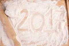 Nouvel 2017 ans sur la farine Photo stock