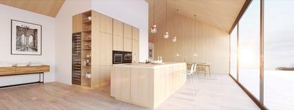 Nouvel appartement scandinave moderne de grenier rendu 3d illustration de vecteur