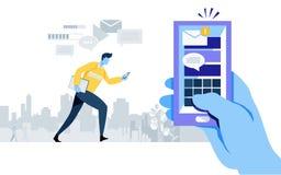 Nouvel email obtenu alerte d'avis Application de Smartphone Connexion en ligne Envoyez le message Medias sociaux travailleur, hom illustration stock
