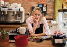 Nouvel entrepreneur inquiété calculant des finances images libres de droits