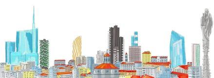 Nouvel horizon de Milan, dessin de dessin à main levée illustration stock