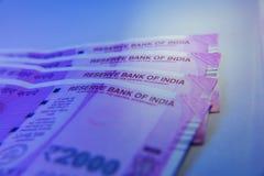 Nouvel Indien 2000 notes de roupie Images libres de droits