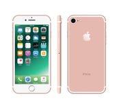 Nouvel iPhone blanc de couleur rose 7 Photographie stock