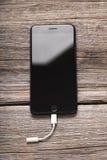 Nouvel iPhone noir 7 plus Images libres de droits
