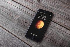 Nouvel iPhone noir 7 plus Photographie stock libre de droits