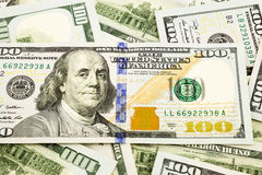Nouvelle édition 100 billets de banque du dollar, devise pour l'invesment et Institut central des statistiques Photo libre de droits