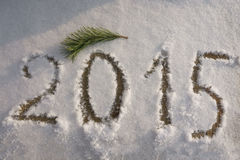 Nouvelle année 2015 à écrire sur la neige Photographie stock