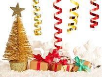 Nouvelle année 2016 Arbre de Noël, présents Images stock