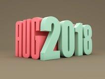 Nouvelle année 2018 avec August Month Photo stock