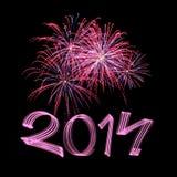 Nouvelle année 2014 avec des feux d'artifice Image stock