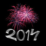 Nouvelle année 2014 avec des feux d'artifice Image libre de droits