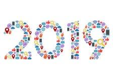Nouvelle année 2019 avec des icônes de technologie illustration de vecteur