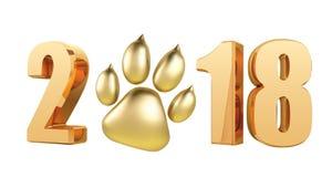 Nouvelle année 2018 avec la copie de pied de chien de symbole en texte rougeoyant de scintillement du style 3D - vecteur d'illust Photographie stock