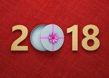 Nouvelle année 2018 avec le boîte-cadeau Photo libre de droits