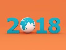 Nouvelle année 2018 avec le globe Photographie stock