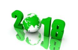 Nouvelle année 2018 avec le globe Photographie stock libre de droits