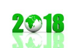 Nouvelle année 2018 avec le globe Images stock
