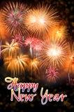 Nouvelle année avec les feux d'artifice colorés Images stock
