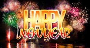 Nouvelle année avec les feux d'artifice colorés Photos stock