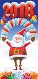 Nouvelle année 2018 avec Santa Claus Photos libres de droits
