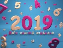 Nouvelle année 2019 avec Word tamoul Images libres de droits