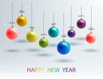 Nouvelle année Bckground avec les boules colorées de Noël d'ensemble Boules 2017 de Noël de vecteur Photographie stock