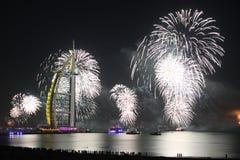 Nouvelle année blanche à Dubaï Photographie stock libre de droits