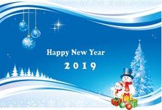 Nouvelle année 2019 Carte de voeux avec un arbre, des bonhommes de neige et des boîte-cadeau de Noël Photographie stock libre de droits