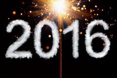 Nouvelle année 2016, chiffres de style de fumée Images stock