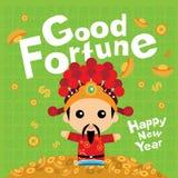 Nouvelle année chinoise avec un dieu de la fortune Photo stock