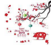 Nouvelle année chinoise heureuse 2019, année du porc an neuf lunaire Bonne année moyenne de caractères chinois illustration de vecteur