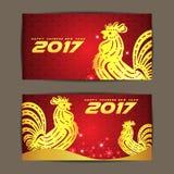 Nouvelle année chinoise heureuse 2017 l'année du poulet et du fond rouge Images libres de droits