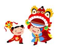 Nouvelle année chinoise heureuse Lion Dance Photographie stock libre de droits