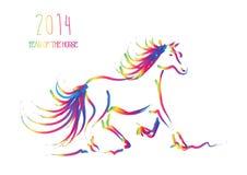 Nouvelle année chinoise multicolore du cheval 2014 d'isolement Photo libre de droits