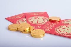 Nouvelle année chinoise, pièces d'or Photographie stock