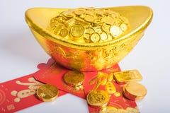 Nouvelle année chinoise, pièces d'or photographie stock libre de droits
