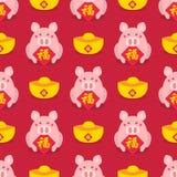 Nouvelle année chinoise sans couture Célébrez l'année du porc Photographie stock