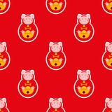 Nouvelle année chinoise sans couture Célébrez l'année du porc Photographie stock libre de droits