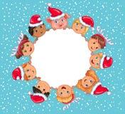 Nouvelle année de bannière vide ronde mignonne d'enfants du porc 2019 illustration libre de droits