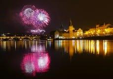 Nouvelle année de feux d'artifice Photo stock