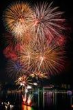 Nouvelle année de feux d'artifice 2014 - célébration 2015 Photos stock