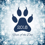 Nouvelle année de la carte postale de vacances de chien avec l'empreinte de pas de patte, vecteur illustration libre de droits