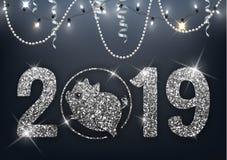 Nouvelle année de la conception de scintillement d'argent du porc 2019, symbole chinois d'horoscope, illustration de vecteur illustration stock