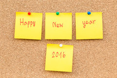Nouvelle année 2016 de note vide collante Images stock
