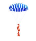 Nouvelle année 2018 de parachute sur un fond blanc Image stock
