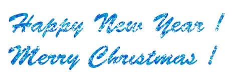 Nouvelle année de salutation saisonnière et Joyeux Noël, lettres bleues sur un fond blanc, la base pour des cartes postales Photographie stock libre de droits