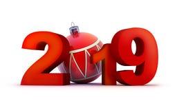 Nouvelle année 2019 de signe sur le fond blanc illustration stock