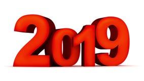 Nouvelle année 2019 de signe sur le fond et le canal alpha blancs banque de vidéos