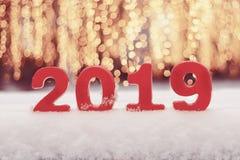 Nouvelle année des numéros 2019 dans la neige image libre de droits